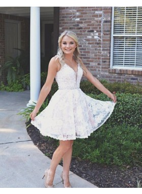 Sleeveless Deep V Neck Backless Lace A Line Pleated Sheer Homecoming Dresses