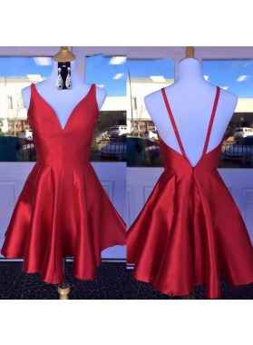 Deep V Neck Red Straps Backless Sleeveless A Line Satin Pleated Homecoming Dresses