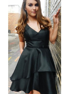 V Neck Sleeveless A Line Pleated Bowknot Belt Satin Short Tiered Homecoming Dresses