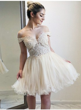 Off The Shoulder Lace Appliques Organza A Line Pleated V Neck Ivory Homecoming Dresses