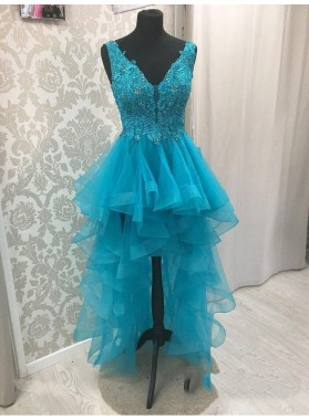 Blue V Neck High Low Organza Pleated Appliques Backless Sleeveless Homecoming Dresses