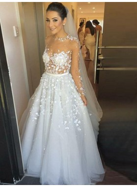 A Line/Princess Long Sleeves Tulle With Floral Long Wedding Dresses / Bridal Gowns 2021