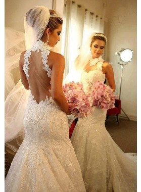 2021 Luxury High Neck Mermaid/Trumpet Backless Lace Long Wedding Dresses / Bridal Gowns