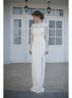 2021 New Arrival Sheath Long Sleeves White Side Slit Lace Wedding Dresses / Bridal Gowns