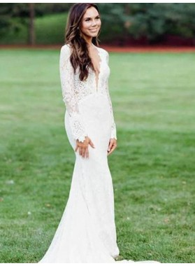 Long Sleeves Front Slit Lace Sheath Floor Length Long Backless Beach Wedding Dresses / Bridal Gowns 2021