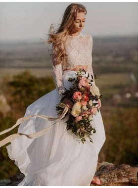2021 Elegant A Line/Princess Chiffon Long Sleeves Lace Two Pieces Beach Wedding Dresses / Bridal Gowns