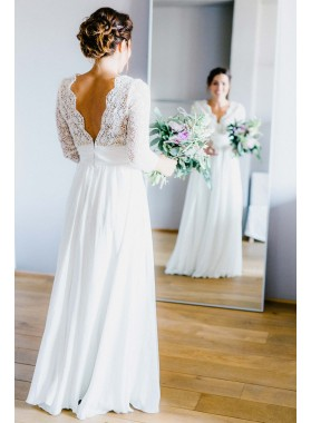 2021 New Arrival A Line/Princess Chiffon Long Sleeves V Neck Lace Beach Wedding Dresses / Bridal Gowns