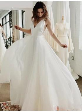 2020 New Arrival A Line/Princess V Neck Chiffon Backless Floor Length Long Beach Wedding Dresses / Bridal Gowns