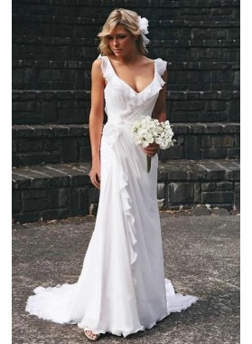 2020 Newly A Line/Princess Chiffon Pleated Beach Wedding Dresses / Bridal Gowns