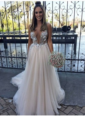 2020 New Arrival A Line/Princess Deep V Neck Beaded Tulle Champagne Wedding Dresses / Bridal Gowns