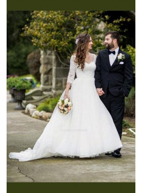 2020 New Arrival A Line/Princess Long Sleeves Sweetheart Organza Wedding Dresses / Bridal Gowns