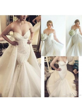 Sexy Mermaid/Trumpet Sweetheart Tulle 2020  Long Train Lace Wedding Dresses / Bridal Gowns