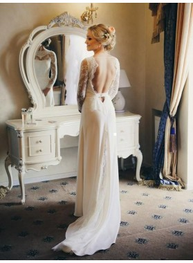 2020 Charming A Line/Princess Long Sleeves Backless Lace Long Beach Wedding Dresses / Bridal Gowns
