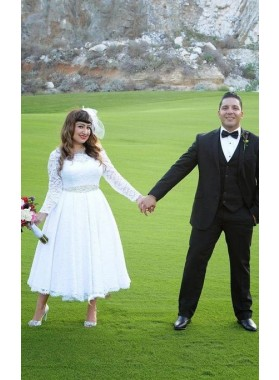 Cheap A Line/Princess Long Sleeves Tea Length Beaded Sash 2020 Short Lace Wedding Dresses / Bridal Gowns