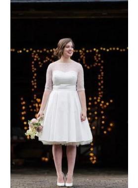 2020 Cheap A Line/Princess Satin Half Sleeves Tea Length Short Wedding Dresses / Bridal Gowns