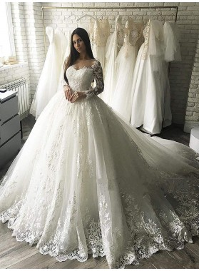 2020 Charming Long Sleeves Bateau Lace Princess Ball Gown Wedding Dresses / Bridal Gowns
