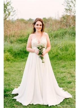 2020 Cheap A Line/Princess Chiffon Sweetheart Beaded Beach Wedding Dresses / Bridal Gowns