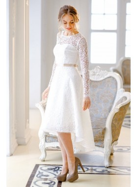 2020 New Arrival A Line/Princess Long Sleeves High Low Backless Lace Short Wedding Dresses / Bridal Gowns