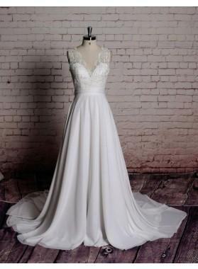 Cheap A Line/Princess Chiffon Long V Neck Backless Beach Wedding Dresses / Bridal Gowns 2020