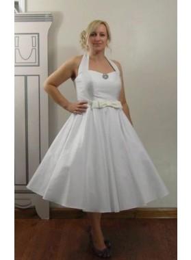 2021 Classic A Line/Princess Halter Bowknot Tea Length Short Satin Wedding Dresses / Bridal Gowns