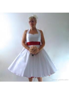 2021 Classic A Line/Princess Satin Halter Sweetheart Tea Length Short Anniversary Wedding Dresses / Bridal Gowns