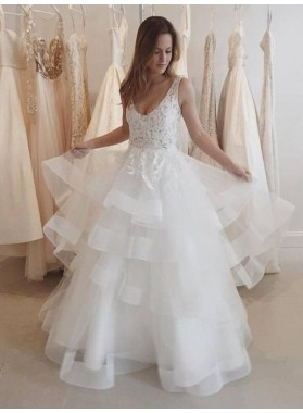 2021 New Arrival A Line/Princess Layered Tulle Backless Lace Wedding Dresses / Bridal Gowns