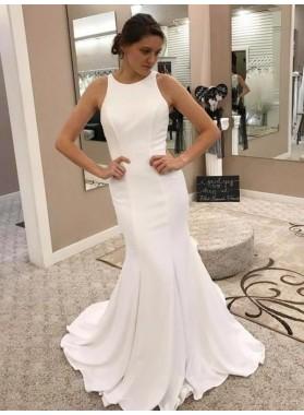 2021 Elegant Mermaid/Trumpet Scoop Sleeveless  Satin Lace Wedding Dresses / Bridal Gowns