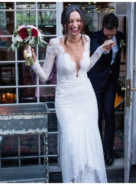 Charming White Long Sleeves Sheath Lace V Neck See Through Back Wedding Dresses / Bridal Gowns 2020