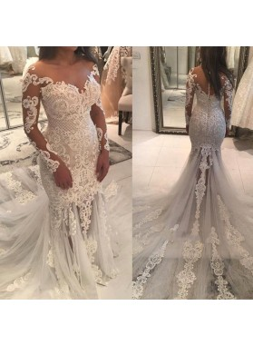 2020 Sexy Sheath Long Sleeves With Appliques Off Shoulder Wedding Dresses / Bridal Gowns