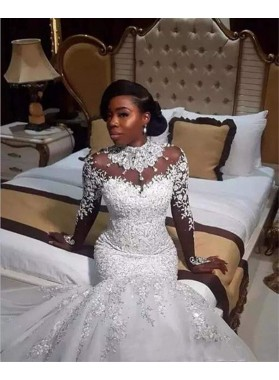 2020 Sexy Mermaid/Trumpet High Neck Luxury Long African American Wedding Dresses / Bridal Gowns