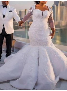 2020 New Arrival Sexy Long Sleeves Sweetheart Tulle Plus Size Wedding Dresses / Bridal Gowns