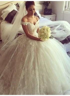 2020 New Arrival Off Shoulder Sweetheart Lace Ball Gown Wedding Dresses / Bridal Gowns