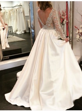 2020 New Arrival A Line/Princess Satin Long Sleeves Front Slit Beaded Backless Wedding Dresses / Bridal Gowns