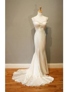 2021 Elegant Sheath Sweetheart Elastic Satin Sweetheart Backless Wedding Dresses / Bridal Gowns