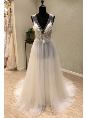 2021 New Arrival A Line/Princess V Neck Floral Cheap Beach Wedding Dresses / Bridal Gowns