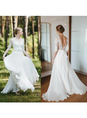 Cheap A Line/Princess Chiffon Long Sleeves Backless Lace Bowknot Beach Wedding Dresses / Bridal Gowns 2020