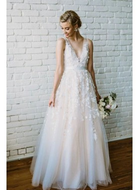 2020 Fashion A Line/Princess V Neck Tulle With Appliques Beach Wedding Dresses / Bridal Gowns