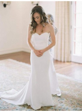 2020 Elegant Sheath Strapless Satin Sweetheart Cheap Wedding Dresses / Bridal Gowns