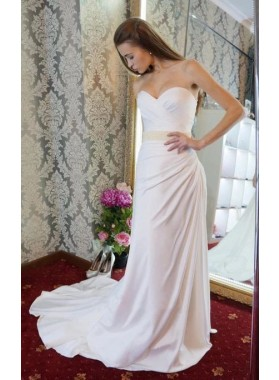Cheap Sheath Pleated Satin Sweetheart Lace Up Back Belt Wedding Dresses / Bridal Gowns 2020