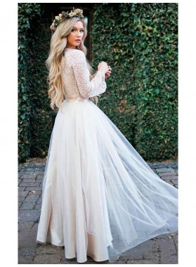 2020 New Arrival A Line/Princess Long Sleeves Champagne Tulle Lace Wedding Dresses / Bridal Gowns