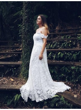 2020 Cheap A Line/Princess Lace Off Shoulder Sweetheart Long Plus Size Wedding Dresses / Bridal Gowns