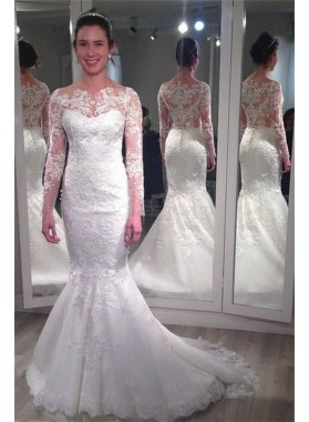 2020 Charming Mermaid/Trumpet Long Sleeves Lace Bateau Classic Wedding Dresses / Bridal Gowns