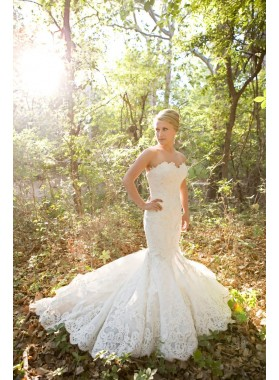 2021 New Arrival Mermaid/Trumpet Sweetheart Lace Long Wedding Dresses / Bridal Gowns