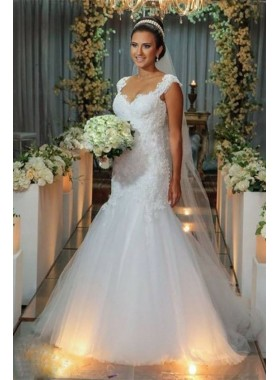 2020 Charming Mermaid/Trumpet Sweetheart Tulle Beaded Backless Wedding Dresses / Bridal Gowns