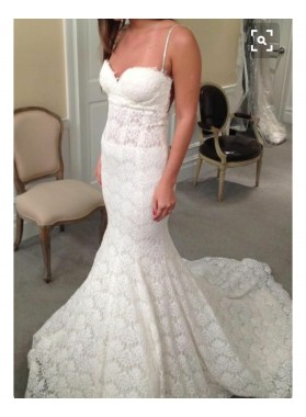 2020 Newly Mermaid/Trumpet Backless Lace Sweetheart Spaghetti Straps Wedding Dresses / Bridal Gowns
