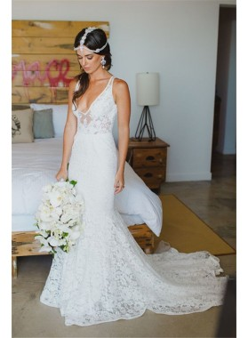 2020 New Arrival Sheath V Neck Low Lace Long Beach Wedding Dresses / Bridal Gowns