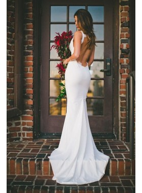 2020 Charming Mermaid/Trumpet Sweetheart Elastic Satin Backless Cheap Wedding Dresses / Bridal Gowns