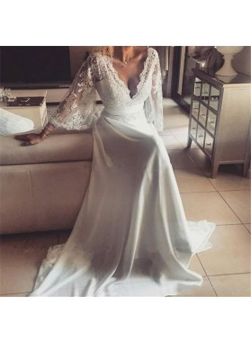 2020 Cheap A Line/Princess Chiffon V Neck Lace Long Sleeves Backless Beach Wedding Dresses / Bridal Gowns