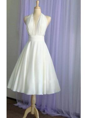 Cheap A Line/Princess Chiffon Halter Backless Tea Length Short Wedding Dresses / Bridal Gowns 2021
