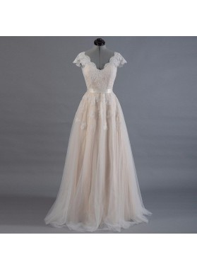 2021 New Arrival A Line/Princess Capped Sleeves Champagne Tulle Belt Wedding Dresses / Bridal Gowns